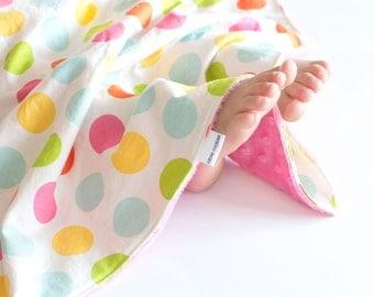 Minky Security Blanket Large Dot Multi Baby Girl Blanket, Lovey