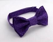 Purple Bow Tie Bowtie - Pretied - Adult - Boys - Boy - Baby - Toddler - Formal Casual Wedding - Purple Cotton - Geek Bows