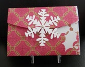 Gift Card Holder Holiday Red and Green Holly with Snowflake Closure