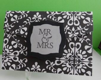 Wedding Gift Card Holder Mr & Mrs Black and White
