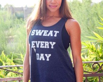 Sweat Everyday. Feminine Cut Muscle Tank. Flowy Muscle Tank. Made in the USA. Lounge Tank. Workout Tank. Women's Gym Shirt. Custom Tank Top