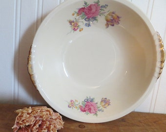 Rosalee China Serving Bowl  Pink Roses Paden City Pottery USA 1930s