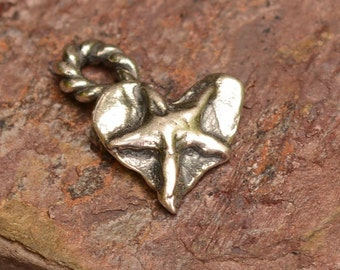 Sterling Silver Heart Charm adorned with Star, Tiny Cowgirl Heart