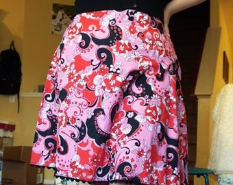 PRICE REDUCED - Red, Pink, Black and Rick Rack A-Line Skirt - XL