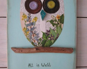 Wood owl, rusty metal owl, vintage book page art, driftwood wall hanging, mixed media wall decor, wall sign, wall quote, word art, beach art