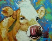 Cow painting 1012 20x20 inch animal original oil painting by Roz