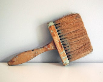 Vintage Paint Brush, Rustic Wood Handle Paintbrush, Natural Bristles, Large Wallpaper Brush, Houseware Tools, Industrial Home Decor, Bingham