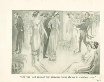 Vintage Print The Devil Satan Antique Christian Book Illustration 1911 Women's Fashion Party