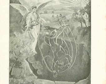 Vintage Angel Illustration Print The Devil Satan Antique Christian 1911 Book Plate