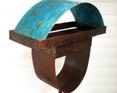 Sculptural Steel & Copper Bird Feeder Freestanding unique modern birdfeeder