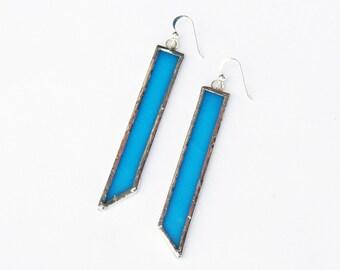 Blue Glass Earrings, Geometric Earrings, Rectangle Earrings, Long Earrings, Gift for Her, Girlfriend Gift, Glass Art, Statement Earrings