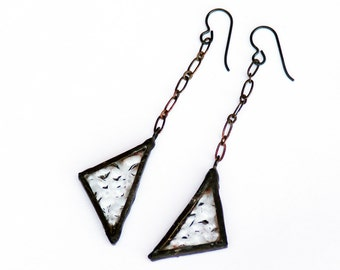 EARRINGS - Stained Glass Earrings, Triangular Earrings