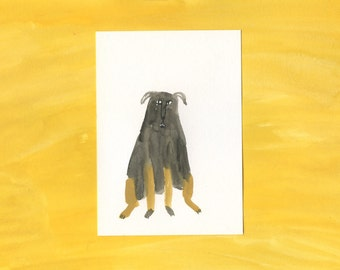 100 Hideous Hounds - No. 40 - Original Gouache dog painting