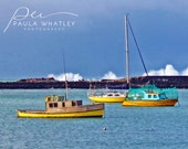 yellow boat photo, nautical print, ocean photo, ship photo, yellow boat print, ocean print, nautical decor, New Zealand photo, blue boat art