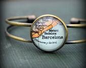 Barcelona Map Bangle Bracelet - Custom Map Jewelry - Spain - Backpacking - Vacation - Europe