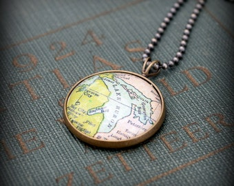 Lake Huron Map Necklace - Custom Handmade Pendant - Charm Jewelry - Gift -  Great Lakes - Midwest - Michigan - Ontario
