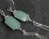 Chrysoprase Chain Tassel Drop Earrings