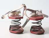Vintage Moon Shoes, Retro Red Jumping Shoes