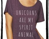 Unicorns are my Spirit Animal Dolman Tee Loose Slouchy Heathered tshirt shirt