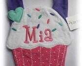Monogrammed Cupcake Birthday Terry Cloth Bib
