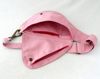 Fanny Pack in Rose Quartz Cotton Duck Canvas - Belt Bag, Hip Bag, Festival Pack, Duck Cloth Bag, Baby Pink, Pink and Gold, Water Resistant