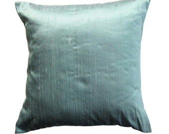 Aqua Pillow Cover -- Silk Pillow Cover -- Aqua Silk Cushion Cover -- 16 x 16
