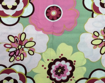 Pink floral fabric - 1 yard x 40 inches - large print