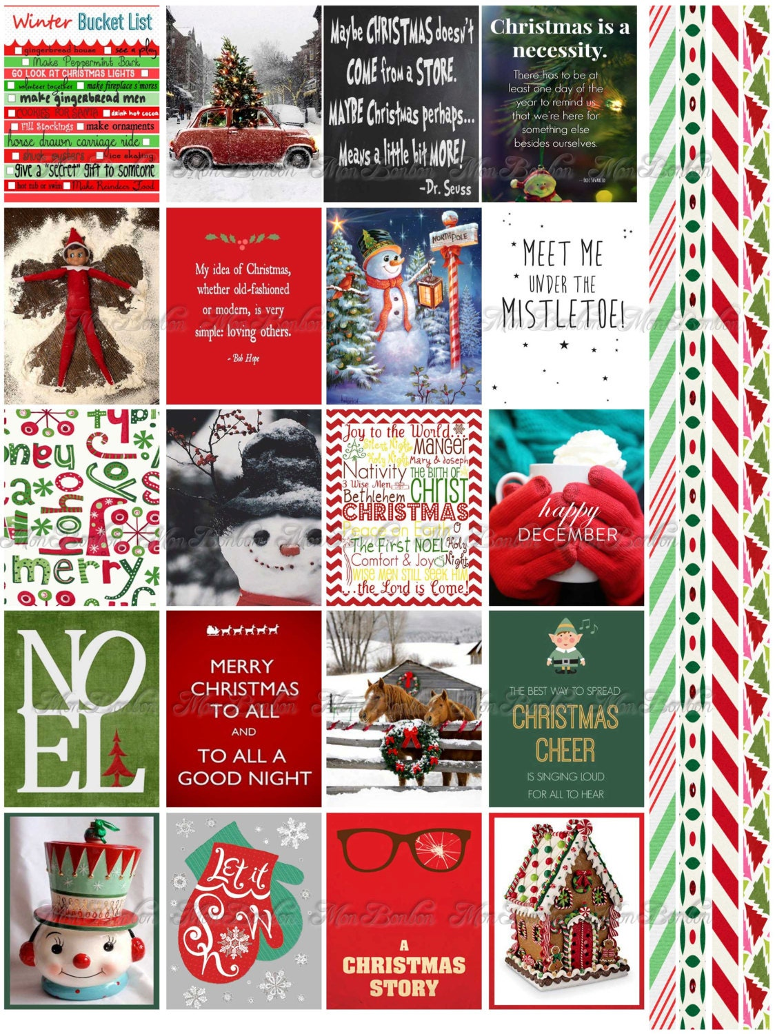 Christmas and Winter Quote Stickers Planner Printable