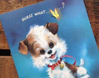 Vintage Cute Puppy Glitter Card - Unused - Birthday