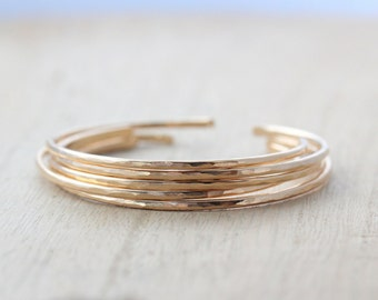 Stacking Bangle Bracelets in Gold Filled , Rose Gold , Sterling Silver , Hammered Cuff , Layering Minimalist Bracelet