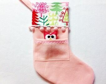 Felt Holiday Stocking - Pocket Peeper Owl - Sleigh Ride