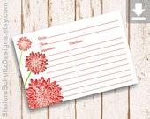 Recipe Cards, Flower, Dahlia, Garden, Bloom, Blossom, Red, Crimson, Dark, Green, Digital File, Download, Printable, Cooking, Kitchen, Food