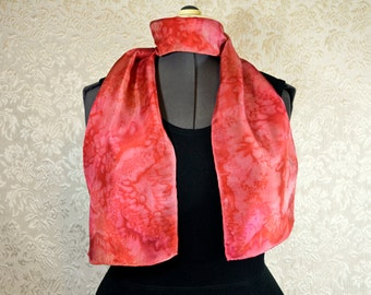 Hand painted silk scarf, rectangular, in coral and pink