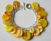 Button Charm Bracelet Bright Citrus Yellow