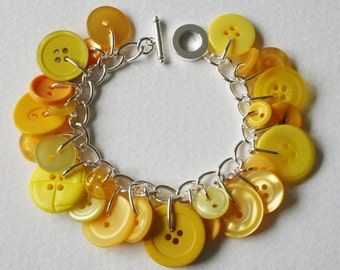 Button Charm Bracelet Bright Citrus Yellow