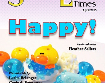 April 2015 Soda Lime Times Lampworking Magazine - Happy Beads - (PDF) - by Diane Woodall