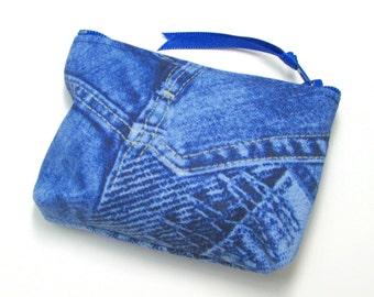 Coin purse, Small coin purse, Small zippered coin purse, Zipper coin purse, Wallet,  Blue denim print