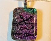 Swimmer Necklace Pendant - Dichroic Fused Glass Necklace Pendant - Purple Swirl Waves - Free Shipping