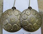 Antiqued brass earrings round dangle earrings bohemian earrings Spiral sun mandala Bohemian jewelry