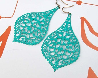 turquoise earrings / Big earrings / Bohemian jewelry / boho earrings / Summer beach jewelry