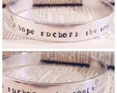 Hebrews 6:19 Hope anchors the soul, silver bible verse cuff bracelet
