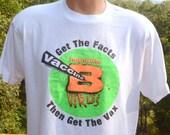 90s vintage t-shirt VACCINE hepatitis b vax medicine wtf health neon tee Large virus