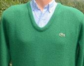 70s vintage golf sweater v-neck LACOSTE izod alligator green preppy soft Medium acrylic 80s