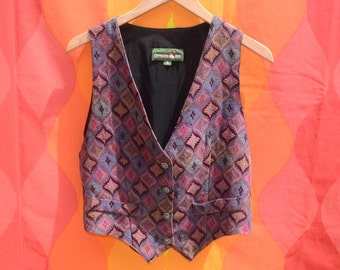 vintage 80s women's vest OUTBACK red diamond native tapestry pattern woven Medium Small 90s