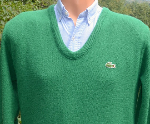 70s vintage golf sweater v-neck LACOSTE izod alligator green preppy soft Medium acrylic 80s