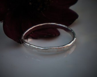 Handmade Argentium Silver Hammered Stacking Ring UK Size L 1/5 US Size 5 7/8