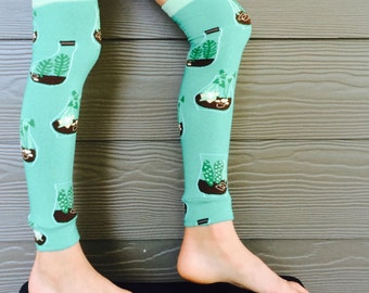 Terrarium Design Leg and Arm Warmers for Boys and Girls - Leggings for Infant, Baby, Toddler, Kid, Tween - Fun Birthday or Shower Gift