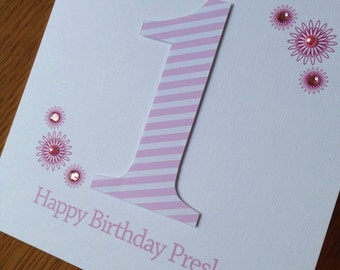First Birthday Card - Pink, Lilac or Blue - with baby's name and/or date