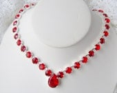 Ruby rhinestone necklace / Valentine gift / Swarovski crystal / Statement necklace / Bridal / Tennis necklace / gift for her / prom jewelry