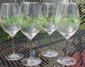 Handpainted Wine Glasses with Shamrocks and Flowers Gift Set of 4